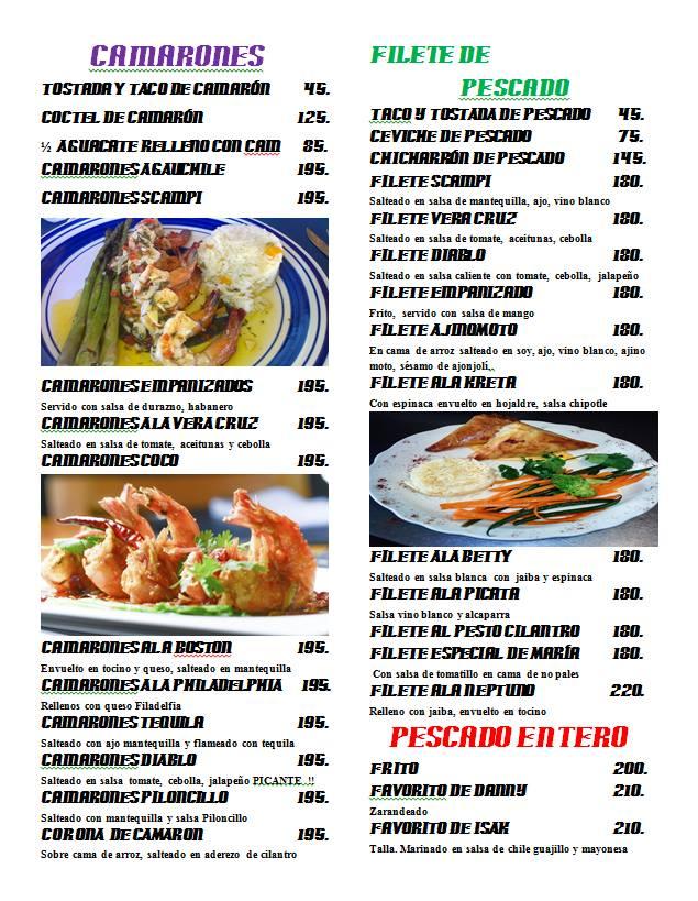 Carlos Seafood Restaurant Menu