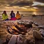 three ladies on beach